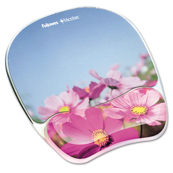 Fellowes® Gel Mouse Pad w/Wrist Rest, Photo, 9 1/4 x 7 1/3, Pink Flowers