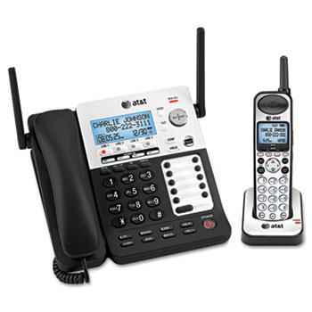 AT&T® SB67138 DECT6 Phone/Ans System, 4 Line, 1 Corded/1 Cordless Handset