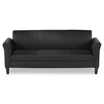 Alera Reception Lounge Furniture, 3-Cushion Sofa, 77w x 31.5d x 32h, Black