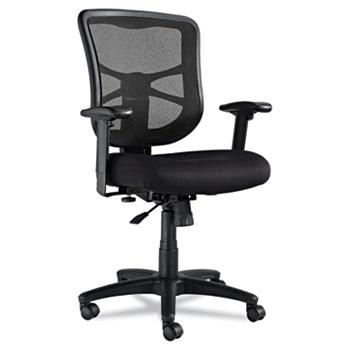 Alera® Alera Elusion Series Mesh Mid-Back Swivel/Tilt Chair, Supports up to 275 lbs, Black Seat/Black Back, Black Base