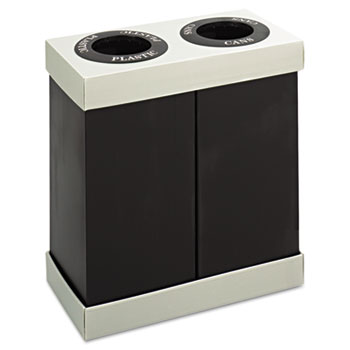 Safco® At-Your-Disposal Recycling Center, Polyethylene, Two 28gal Bins, Black