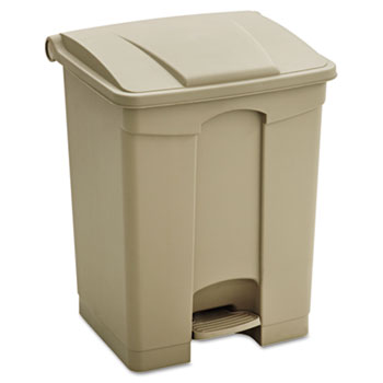 Safco® Large Capacity Plastic Step-On Receptacle, 17gal, Tan