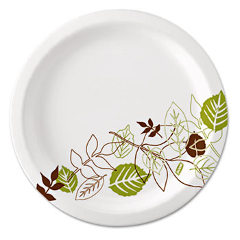"Pathways Soak-Proof Shield Mediumweight Paper Plates, 6 7/8"", Grn/Burg, 500/Ct"