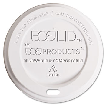 Eco-Products® EcoLid Renewable & Compost Hot Cup Lids, Fits 10-20oz Hot Cups, 50/PK, 16 PK/CT
