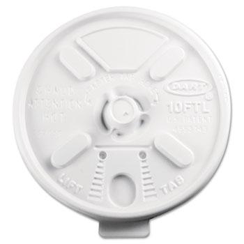 Dart® Lids, Plastic, Lift N' Lock,, 10oz Cups, White, 1000/CT