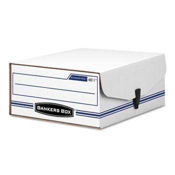 Bankers Box® LIBERTY Binder-Pak Storage Box, Letter, Snap Fastener, White/Blue