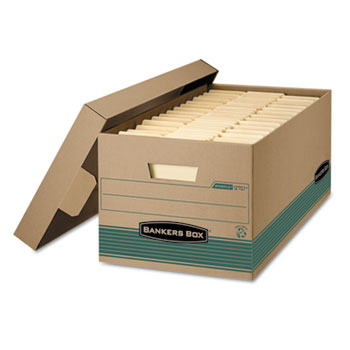 Bankers Box® STOR/FILE Extra Strength Storage Box, Letter, Lift-Off Lid, Kft/Green, 12/Carton