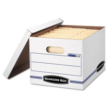 Bankers Box® EASYLIFT Storage Box, Letter/Letter, Lift-Off Lid, White/Blue, 12/Carton