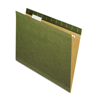 Hanging File Folders, 1/5 Tab, Letter, Standard Green, 25/Box