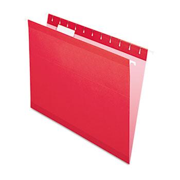 Pendaflex® Reinforced Hanging Folders, 1/5 Tab, Letter, Red, 25/Box