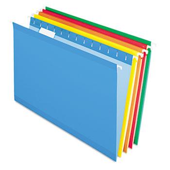Reinforced Hanging Folders, 1/5 Tab, Legal, Assorted, 25/Box