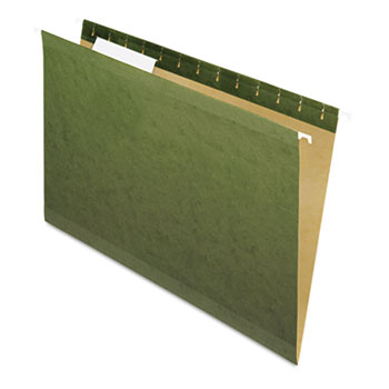 Pendaflex® Reinforced Hanging File Folders, 1/3 Tab, Legal, Standard Green, 25/Box