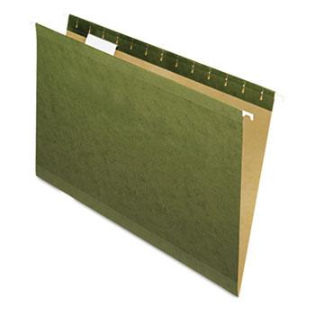 Pendaflex® Reinforced Hanging File Folders, 1/5 Tab, Legal, Standard Green, 25/Box