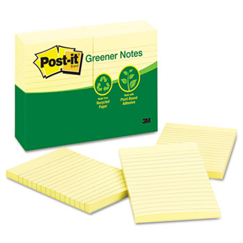 Post-it® Greener Notes Recycled Note Pads, 4 x 6, Lined, Canary Yellow, 100-Sheet, 12/Pack