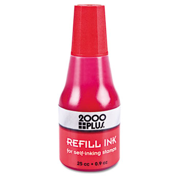 2000 PLUS Self-Inking Refill Ink, Red, 0.9 oz. Bottle