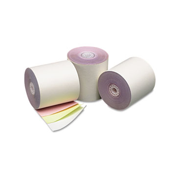 """Three Ply Cash Register/POS Rolls, 3"""" x 70 ft., White/Canary/Pink, 50/Carton"""