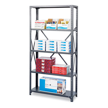 Safco® Commercial Steel Shelving Unit, Six-Shelf, 36w x 18d x 75h, Dark Gray