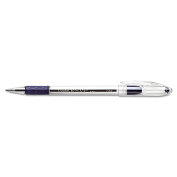 R.S.V.P. Stick Ballpoint Pen, .7mm, Trans Barrel, Blue Ink, Dozen