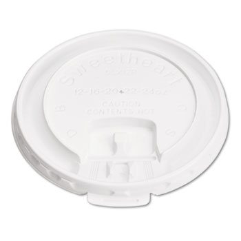 Lift Back & Lock Tab Cup Lids for Foam Cups, 10oz, White, 1000/Carton