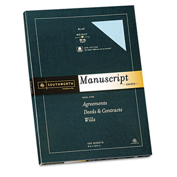 Southworth® 25% Cotton  Manuscript Covers, Blue, 30 lbs., Wove, 9 x 12-1/2,  100/Box