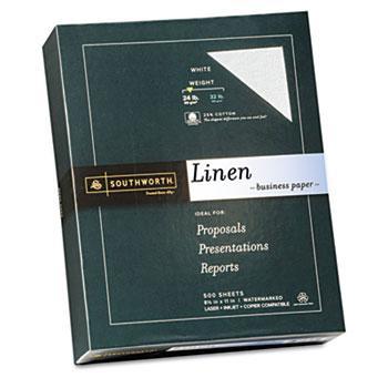 Southworth® 25% Cotton Linen Business Paper, White, 24 lbs., 8-1/2 x 11,  500/Box, FSC