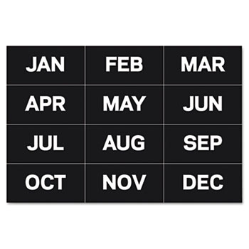 """MasterVision® Calendar Magnetic Tape, Months Of The Year, Black/White, 2"""" x 1"""""""