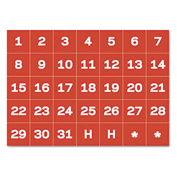 """MasterVision® Calendar Magnetic Tape, Calendar Dates, Red/White, 1"""" x 1"""""""