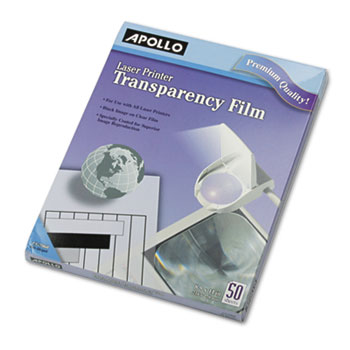 Apollo® Transparency Film for Laser Devices, Letter, Clear, 50/Box