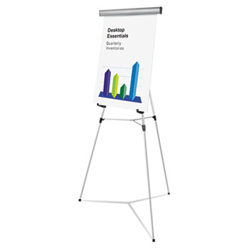 "Universal® Heavy-Duty Adjustable Presentation Easel, 69"" Maximum Height, Metal, Silver"