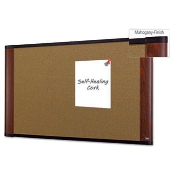 3M™ Cork Bulletin Board, 36 x 24, Aluminum Frame w/Mahogany Wood Grained Finish