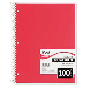 Spiral Bound Notebook, Perforated, College Rule, 8 1/2 x 11, White, 100 Sheets