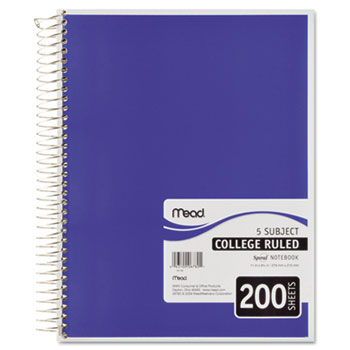 Mead® Spiral Bound Notebook, Perforated, College Rule, 8 1/2 x 11, White, 200 Sheets