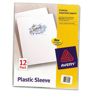 Avery® Plastic Sleeves, Clear, 12/PK