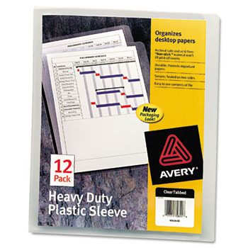 Avery® Heavy-Duty Plastic Sleeves, Clear, 12/PK
