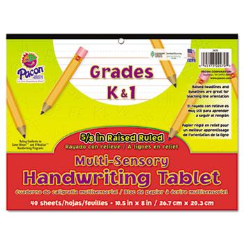 Multi-Sensory Handwriting Tablet, 10-1/2 x 8, 40 Sheets/Pad