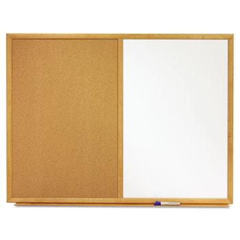 Bulletin/Dry-Erase Board, Melamine/Cork, 36 x 24, White/Brown, Oak Finish Frame