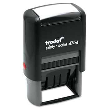 Trodat Economy 5-in-1 Stamp, Dater, Self-Inking, 1 5/8 x 1, Blue/Red