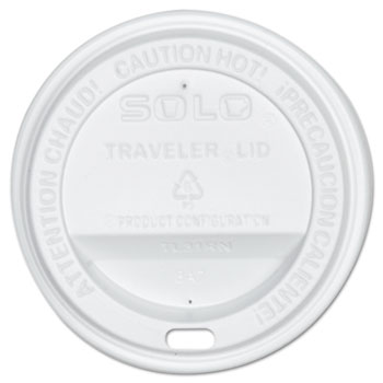 SOLO® Cup Company Traveler Drink-Thru Lid, White, 300/Carton