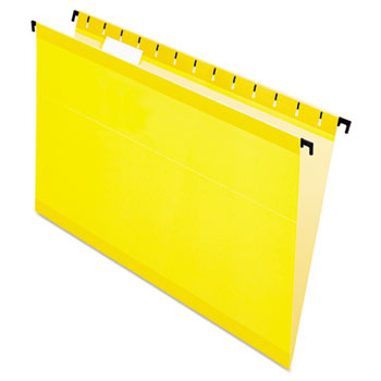 Poly Laminate Hanging Folders, Legal, 1/5 Tab, Yellow, 20/Box