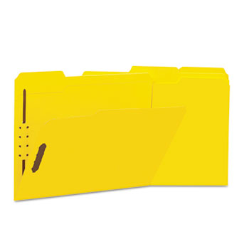 Universal® Deluxe Reinforced Top Tab Folders with Two Fasteners, 1/3-Cut Tabs, Letter Size, Yellow, 50/Box