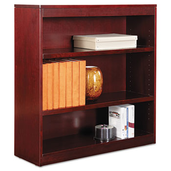"Alera® Square Corner Wood Veneer Bookcase, Three-Shelf, 35.63""w x 11.81""d x 35.91""h, Mahogany"
