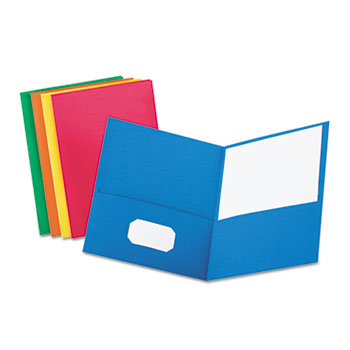 Twin-Pocket Folder, Embossed Leather Grain Paper, Assorted Colors, 25/BX