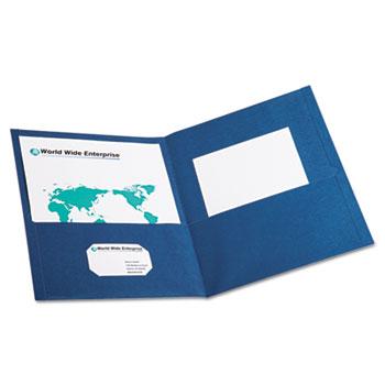Twin-Pocket Folder, Embossed Leather Grain Paper, Blue, 25/BX