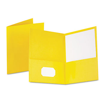 Oxford™ Twin-Pocket Folder, Embossed Leather Grain Paper, Yellow, 25/BX