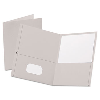 Oxford™ Twin-Pocket Folder, Embossed Leather Grain Paper, Gray, 25/BX