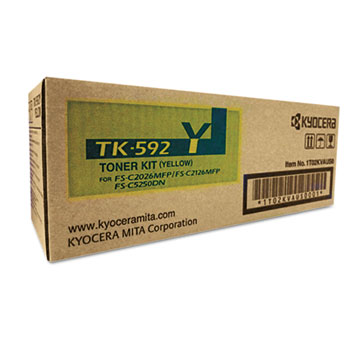 Kyocera TK592Y Toner, 7,000 Page-Yield, Yellow