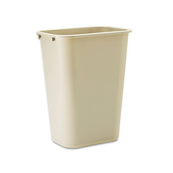 Rubbermaid® Commercial Deskside Plastic Wastebasket, Rectangular, 10.25gal, Beige