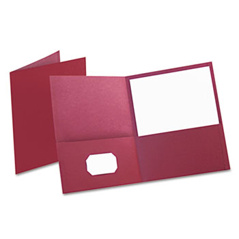 Oxford™ Twin-Pocket Folder, Embossed Leather Grain Paper, Burgundy, 25/BX