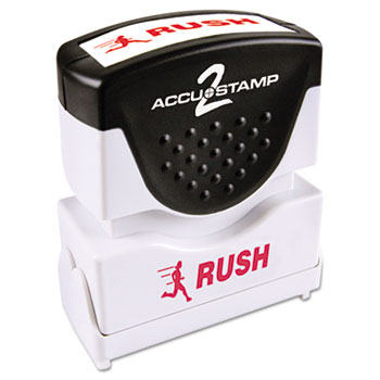 ACCUSTAMP2® Pre-Inked Shutter Stamp with Microban, Red, RUSH, 1 5/8 x 1/2