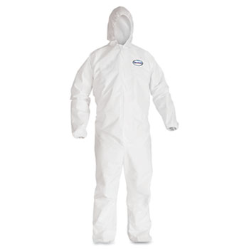 KleenGuard™ A40 Elastic-Cuff Hooded Coveralls, White, X-Large, 25/Case